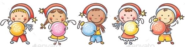 Kids with Christmas Ornaments - Christmas Seasons/Holidays