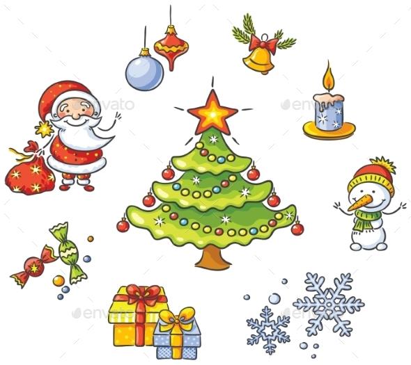 Cartoon Christmas Set - Christmas Seasons/Holidays