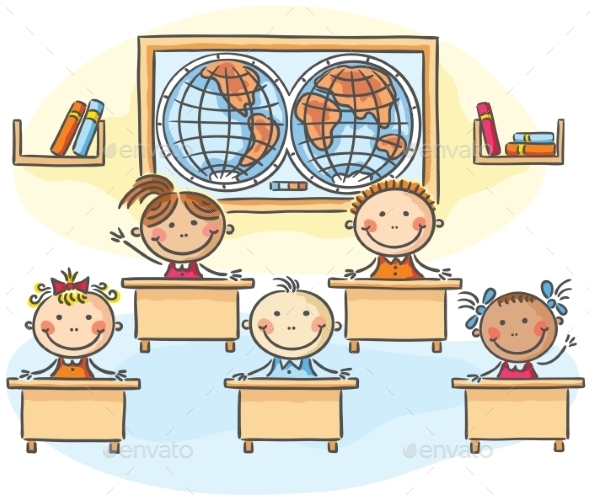 Kids in the Classroom - People Characters