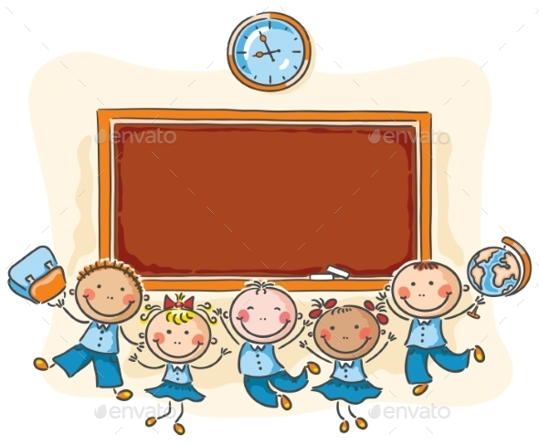 Happy Schoolkids with a Blackboard - People Characters