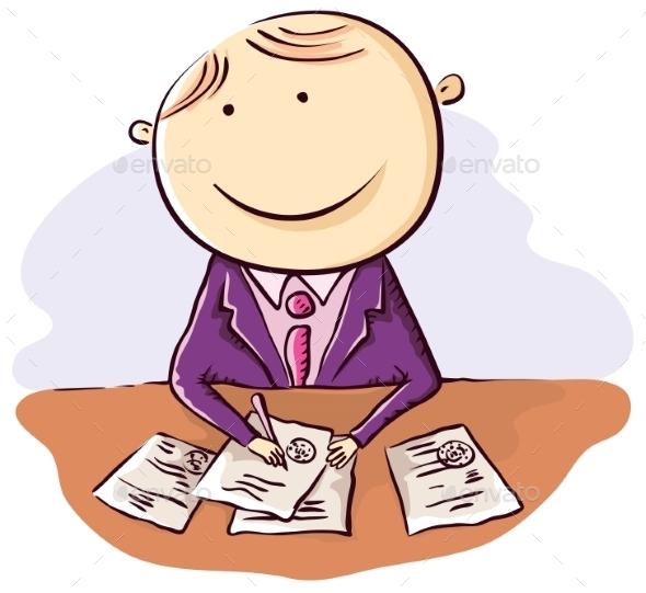 Friendly Cartoon Clerk - People Characters