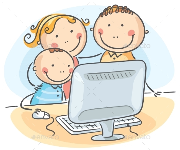 Happy Family at the Computer - People Characters
