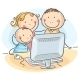 Happy Family at the Computer - GraphicRiver Item for Sale
