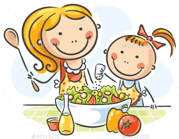 Mother and Daughter Cooking - Food Objects