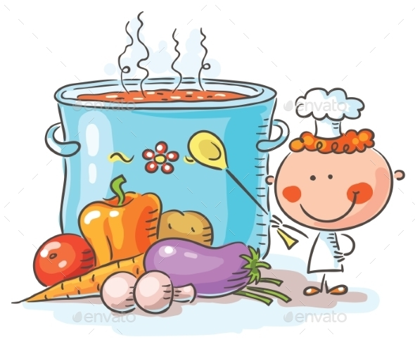 Little Chef with a Giant Boiling Pot - Food Objects