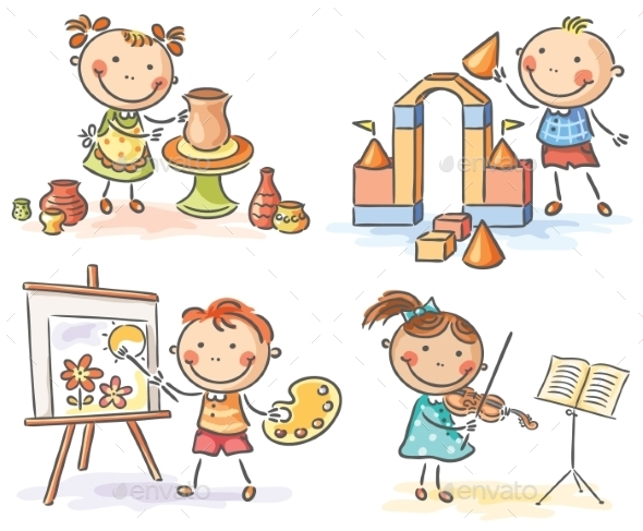 Kids in Different Creative Activities - People Characters