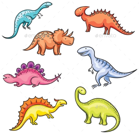 Cartoon Colorful Dinosaurs - Animals Characters