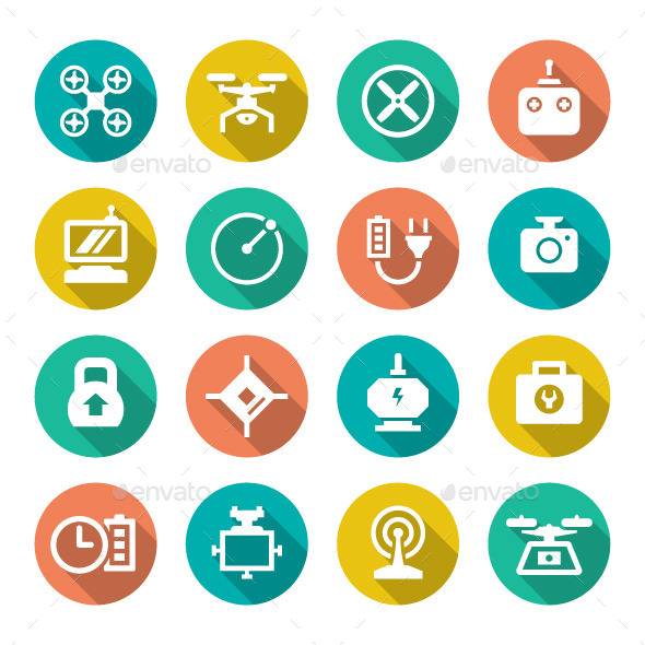 Set Flat Icons of Quadrocopter, Multicopter, Drone - Technology Icons
