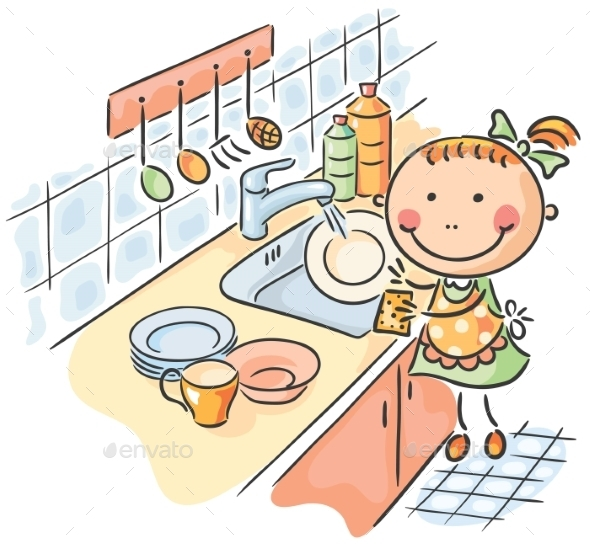 Girl Washing the Dishes - People Characters