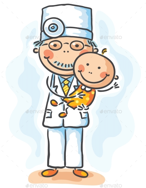 Doctor Holding a Baby - People Characters