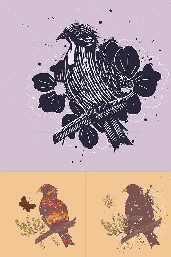 Bird with Flowers - Animals Characters