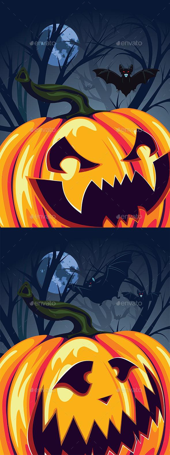Halloween Pumpkin in the Forest - Halloween Seasons/Holidays