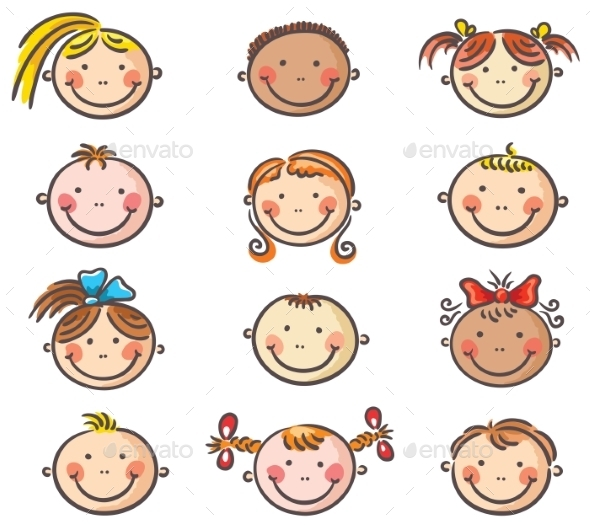 Happy Cartoon Kids Faces - People Characters