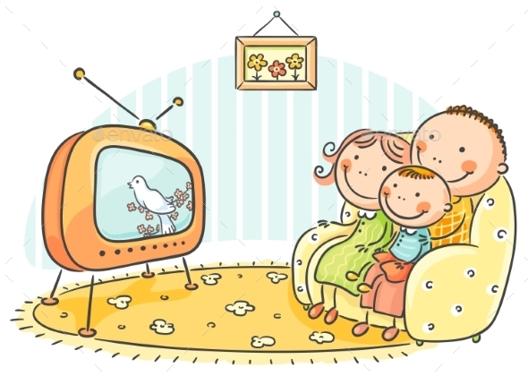 Family watching TV Together - People Characters