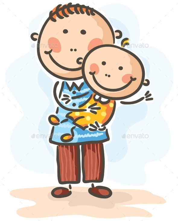 Father holding his Baby-Son - People Characters