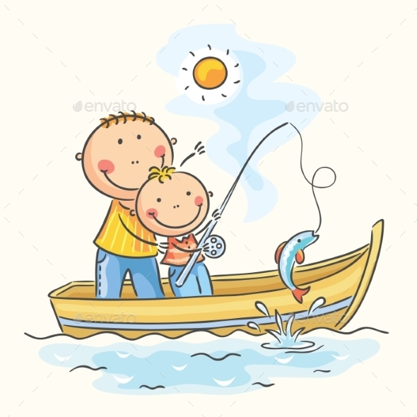 Father and Son in the Boat - Sports/Activity Conceptual