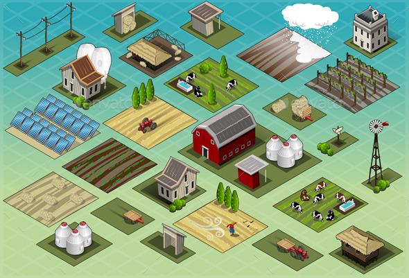 Isometric Farm Set Tiles - Buildings Objects