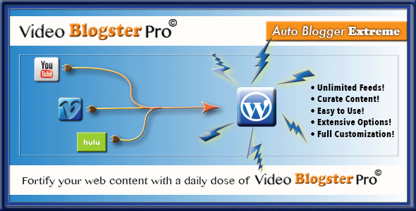 Video Blogster Pro - video import YouTube, DailyMotion, MixCloud, SoundCloud, Spotify, Vimeo, more - CodeCanyon Item for Sale