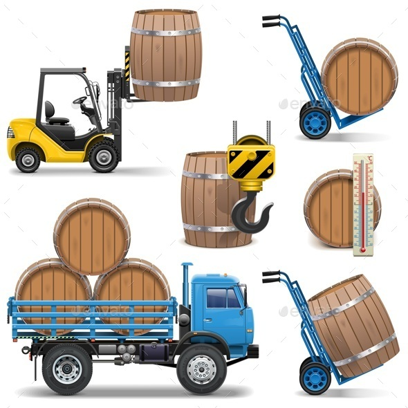 Vector Barrels Shipping Icons - Industries Business