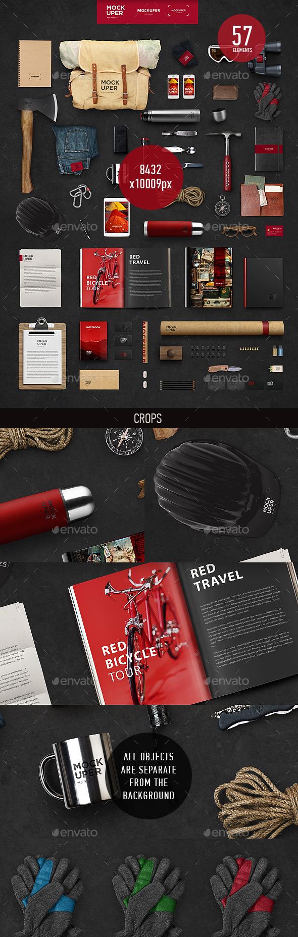 Travel Brutal Branding Mock-Up (PSD) - Product Mock-Ups Graphics