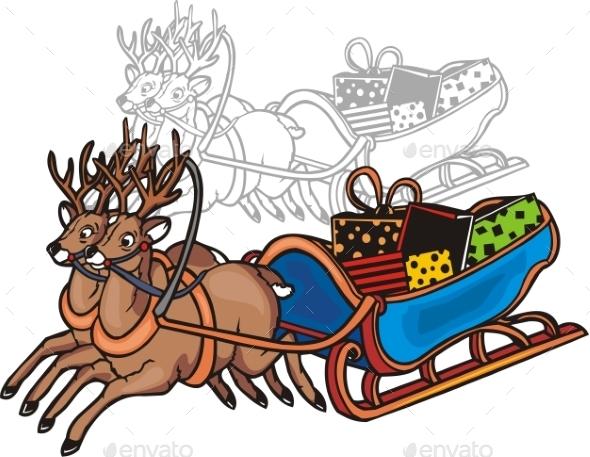 Sleigh and Reindeer  - Christmas Seasons/Holidays