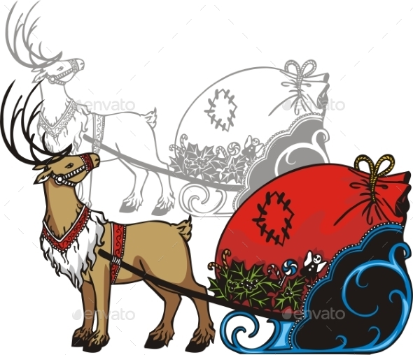 Sleigh and Reindeer - Christmas Seasons/Holidays