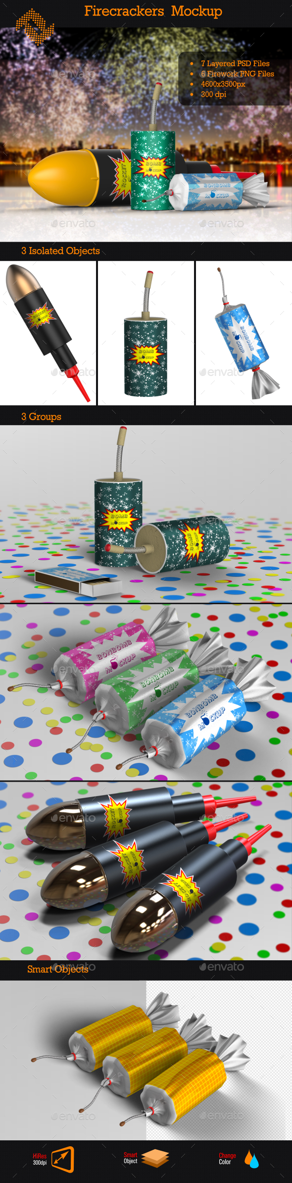Firecrackers / Fireworks Mockup - Miscellaneous Packaging