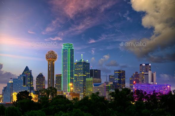 Dallas at dusk - Stock Photo - Images
