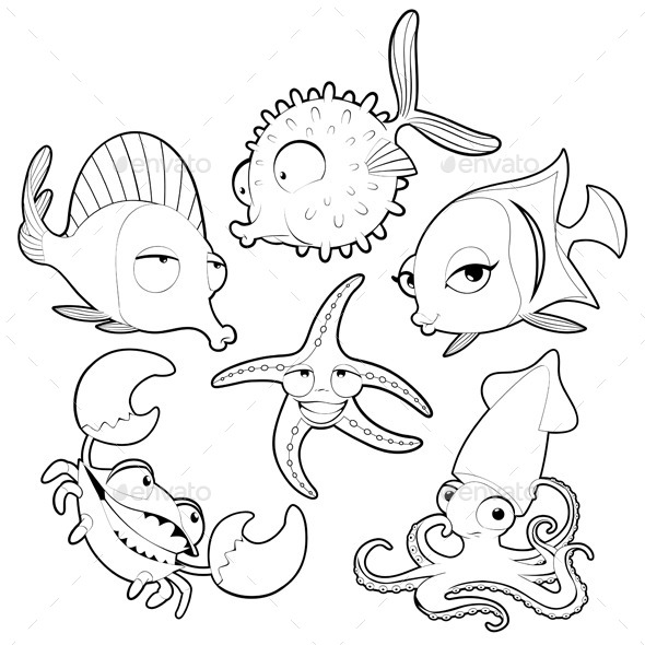 Sea Animals in Black and White - Animals Characters