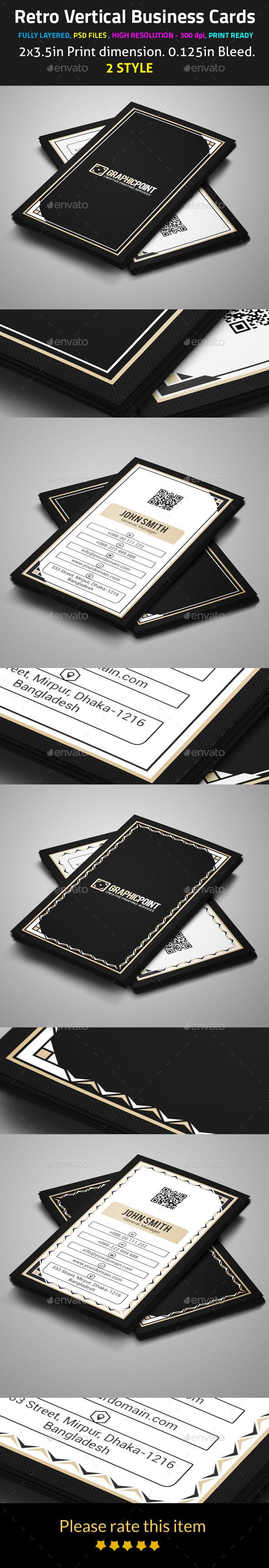 Retro Vertical Business Cards - Retro/Vintage Business Cards
