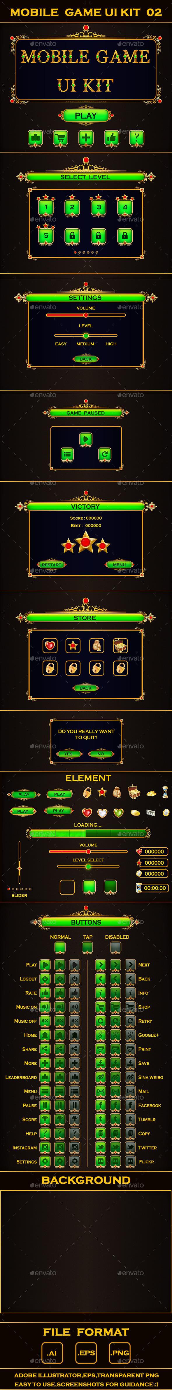 Mobile Game UI Kit 02 - User Interfaces Game Assets