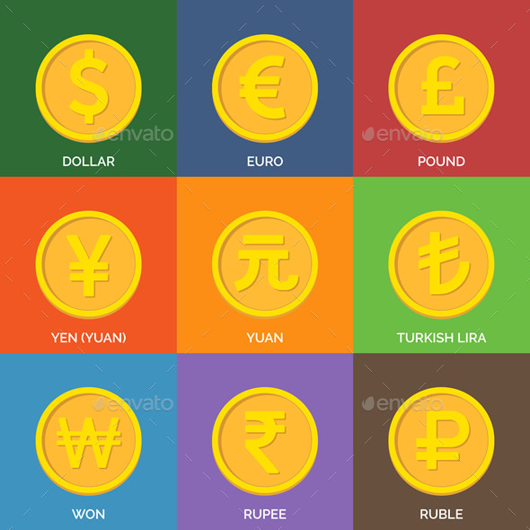 Flat Golden Coins. Currency Icons.  - Vectors