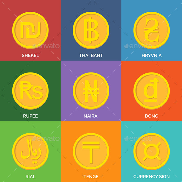 Flat Golden Coins Currency Icons - Miscellaneous Conceptual