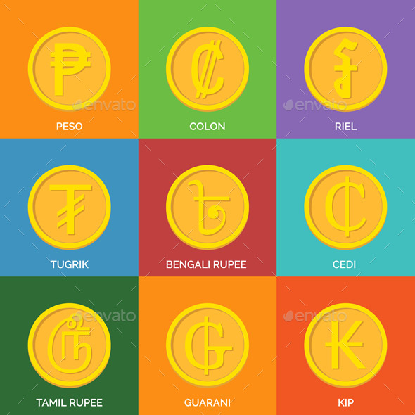 Flat Golden Coins Currency Icons - Miscellaneous Vectors