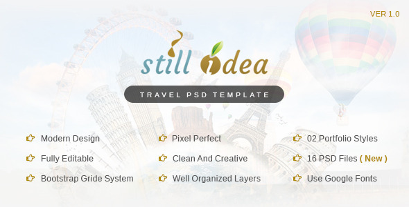Stillidea – Travel, Clean PSD Template