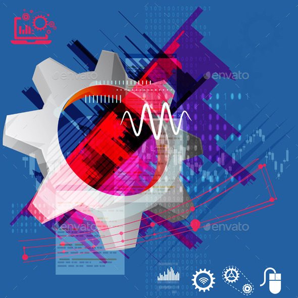 Gear Abstract Illustration - Technology Conceptual
