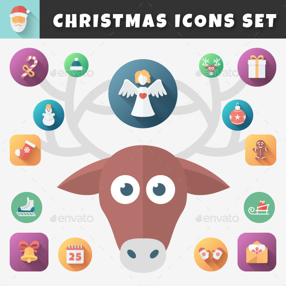 Christmas Flat Icons Set - Miscellaneous Characters