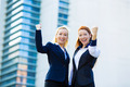 Two ecstatic business woman celebrating success - PhotoDune Item for Sale