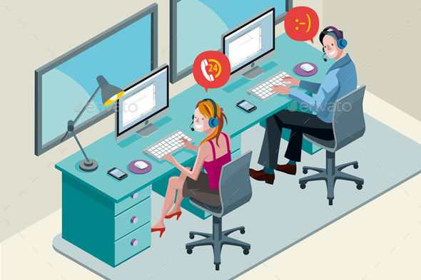 Call Center Team with Headset - Communications Technology