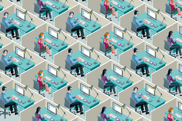 Isometric Office Cubicles - Technology Conceptual
