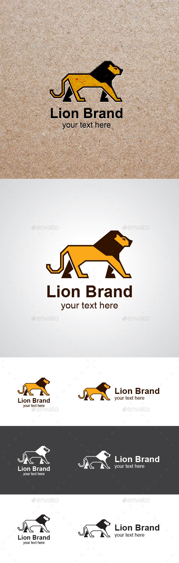 Walking Lion Vector Logo Design - Animals Logo Templates
