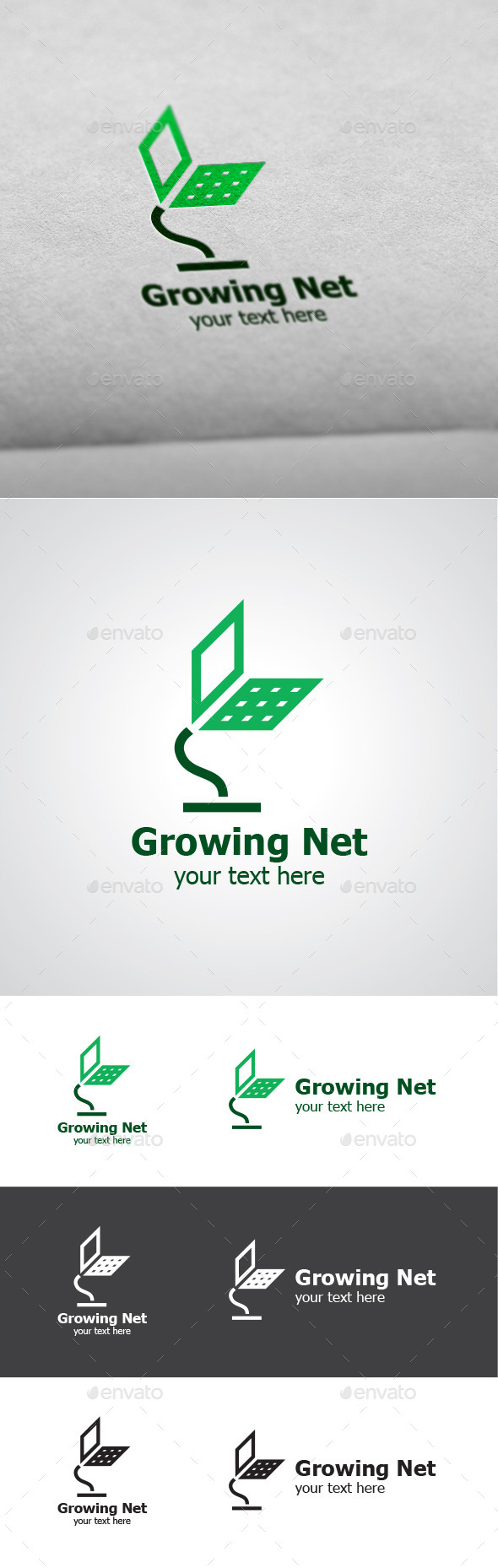 Growing Net Vector Logo Design - Objects Logo Templates
