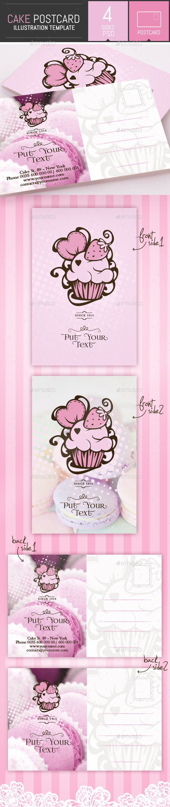 Cake and Cupcake Business Postcard Template - Cards & Invites Print Templates