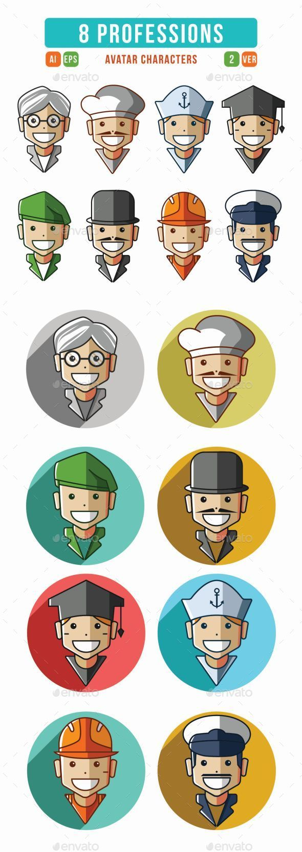Profession Characters Icons Set - Characters Icons