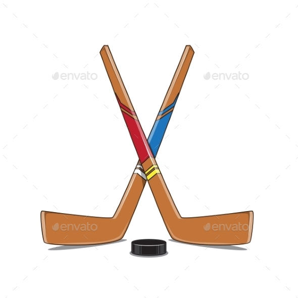 Crossed Hockey Sticks and Puck - Sports/Activity Conceptual