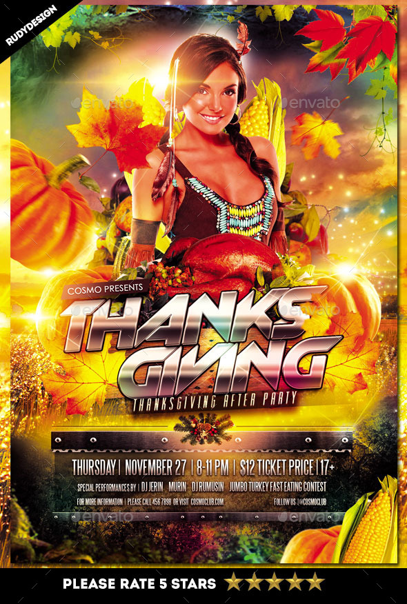 Thanksgiving Day Party Flyer - Holidays Events