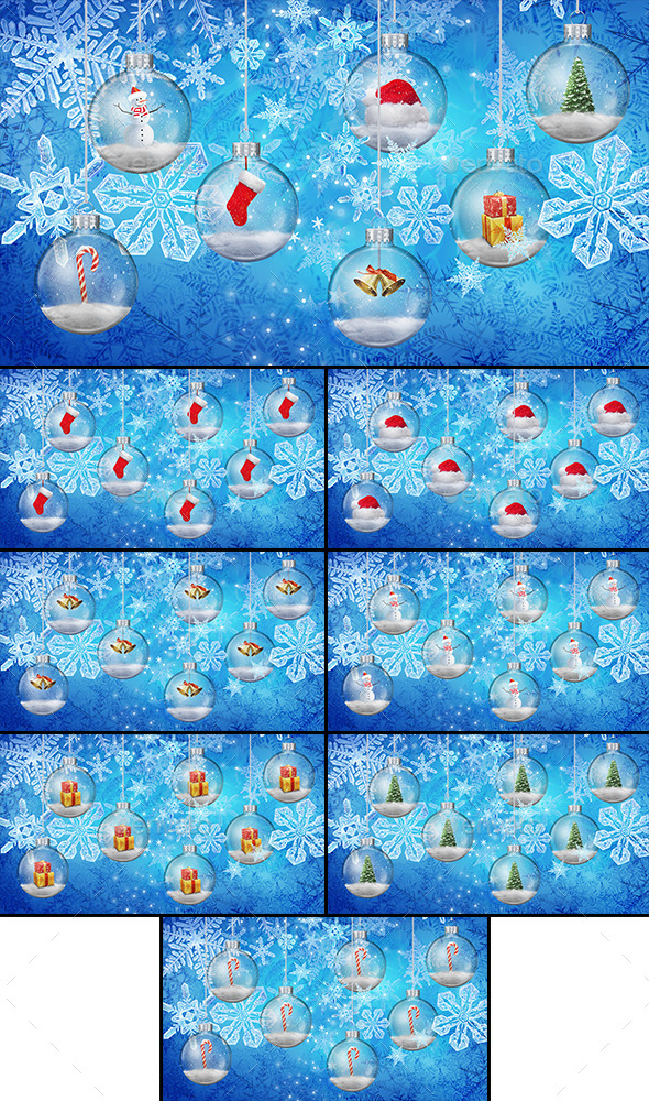 8 Snowglobes Backgrounds - Miscellaneous Backgrounds