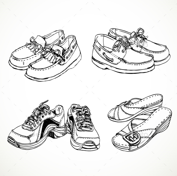 Sketch of Shoes for Men and Women - Objects Vectors