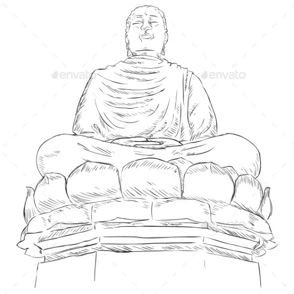 Monument Buddha on the Lotus - Religion Conceptual
