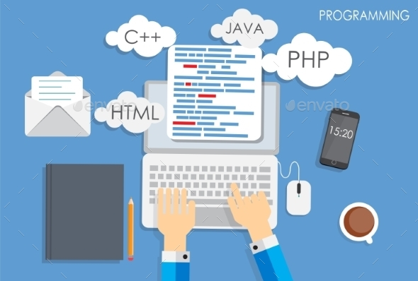 Programming Coding Flat Concept - Web Technology